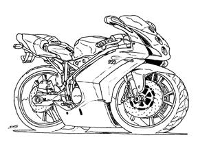Kleurplaat Motor Ducati • Kidkleurplaat.nl