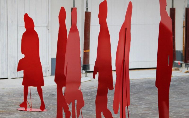 Foule de silhouettes vecto rouges Gérard Fromanger
