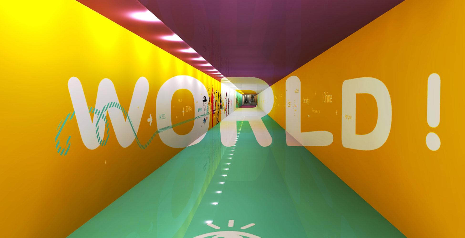 Anamorphose géante situé dans un passage souterrain de l'aéroport de Lyon