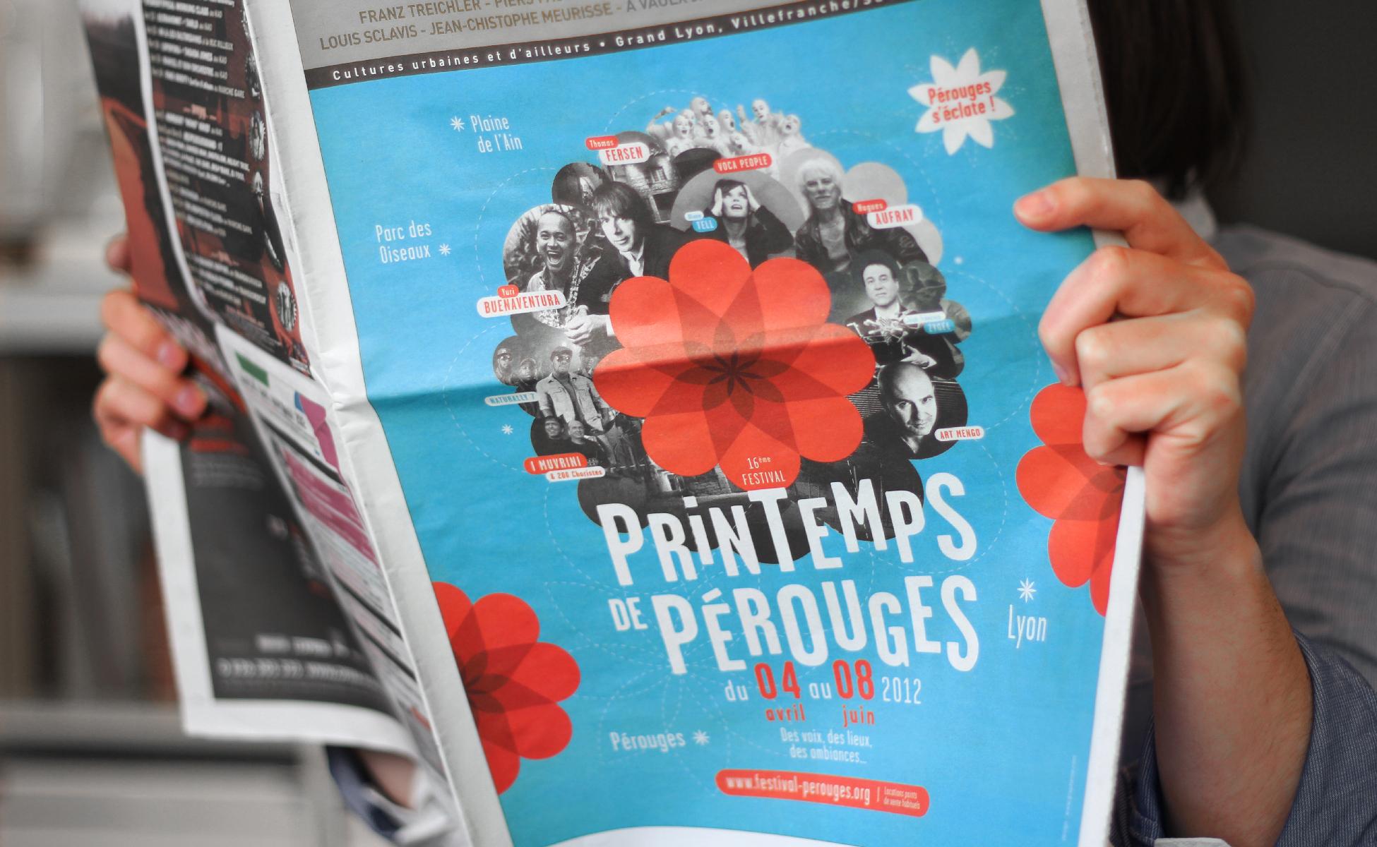 Graphisme du journal du festival du printemps de Pérouges Lyon