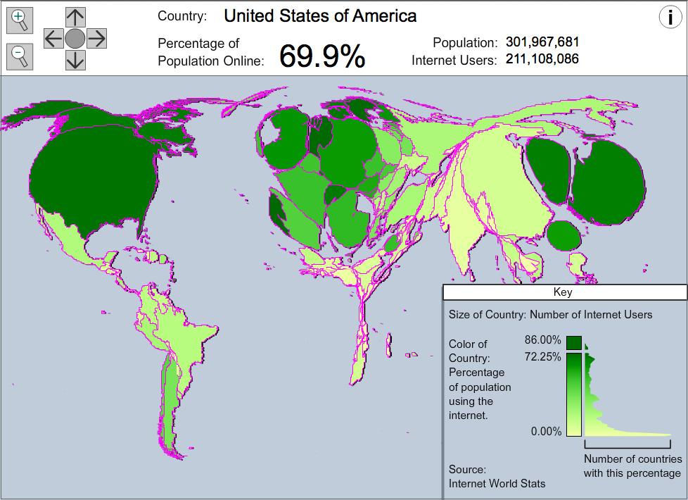 carte Taux de connexion à internet