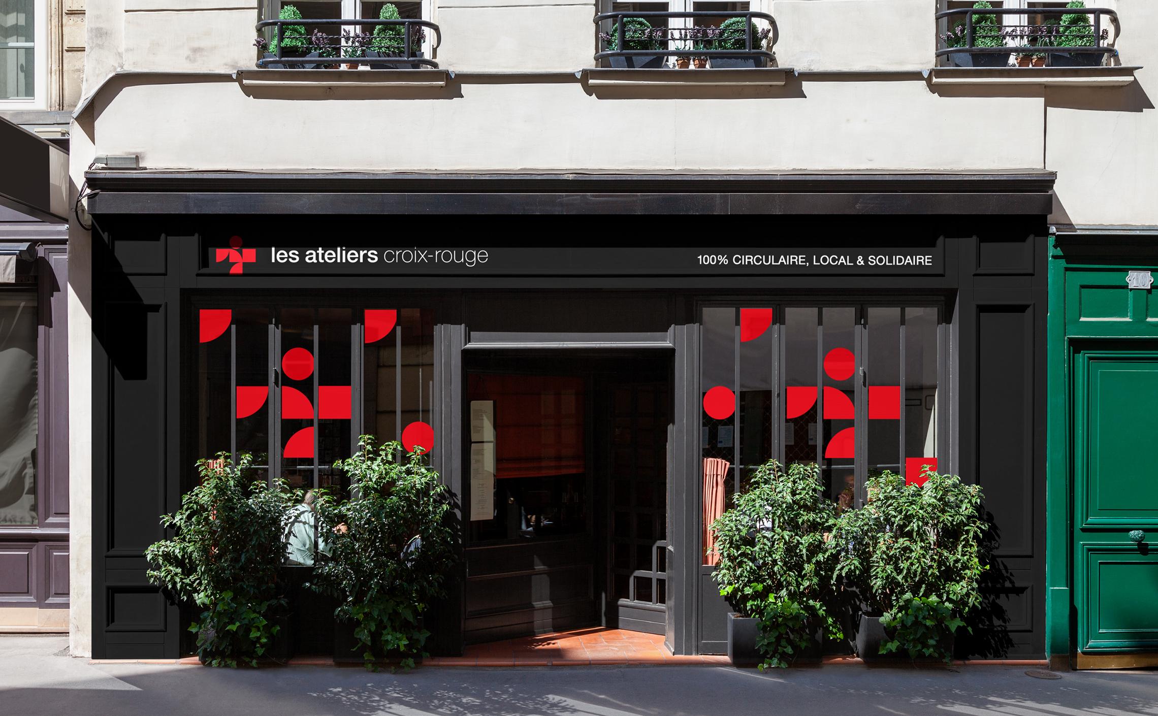 habillage vitrine atelier croix-rouge