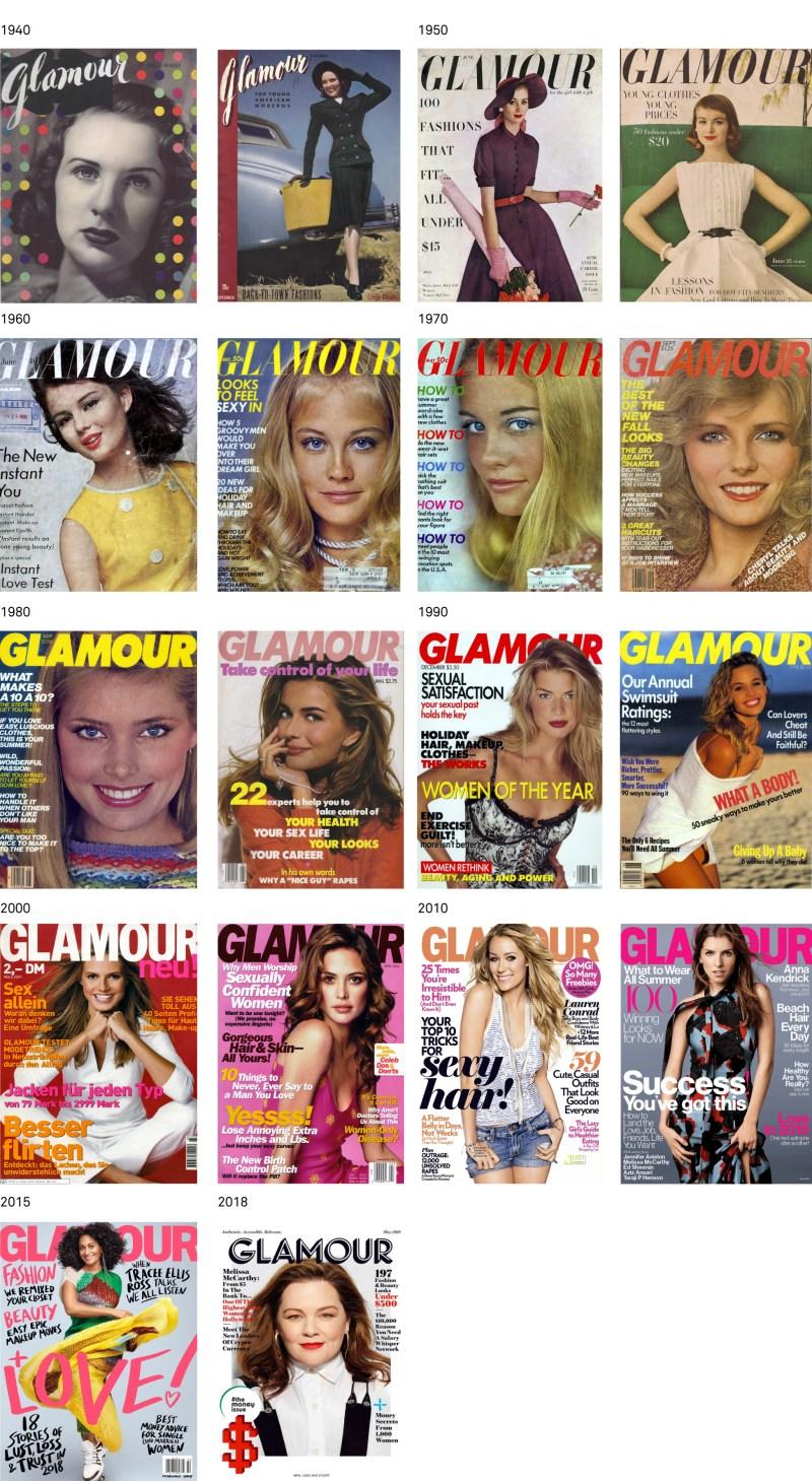 histoire couvertures de glamour presse féminine