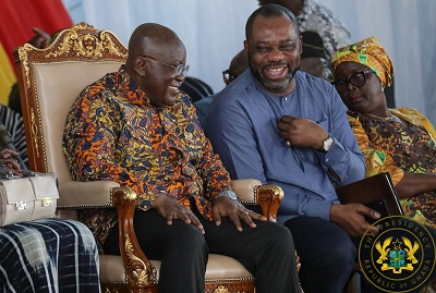 President Nana Addo Dankwa Akufo-Addo (left) in a chat with Dr Matthew Opoku Prempeh, the Minister of Education