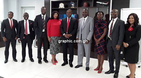 Officials from the Ghana Institute of Journalism in a group photo with some management members of the Zenith Bank Ghana Limited after their engagement