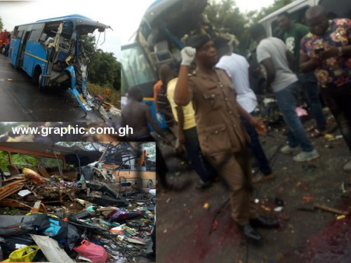 Main photo shows the scene of the accident while inset, are the bus and debris from the accident