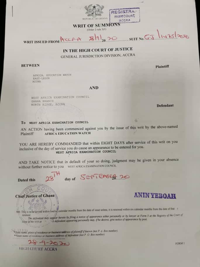 WAEC sued! 2