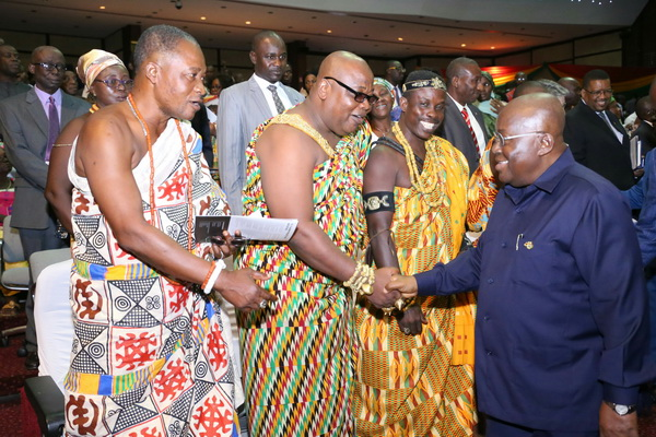 President Akufo-Addo exchanging pleasantries with guess after the ceremony in Accra. Picture by Samuel Tei Adano.JPG