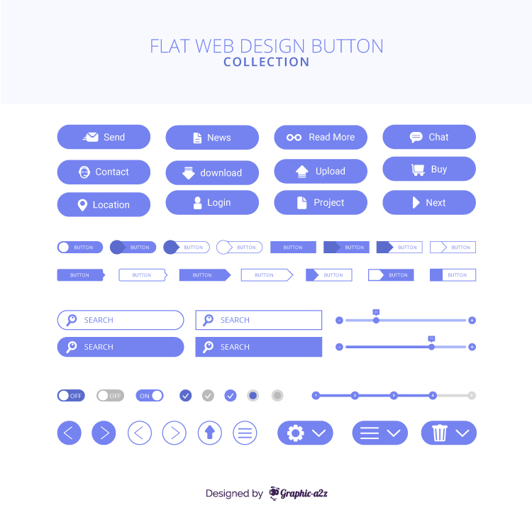 Modern web design free vector button collection on graphica2z