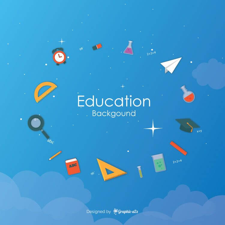 Education elements background flat style