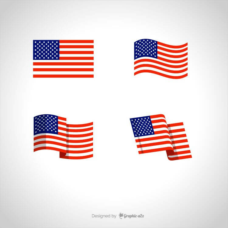 American flags flat vector, USA flag