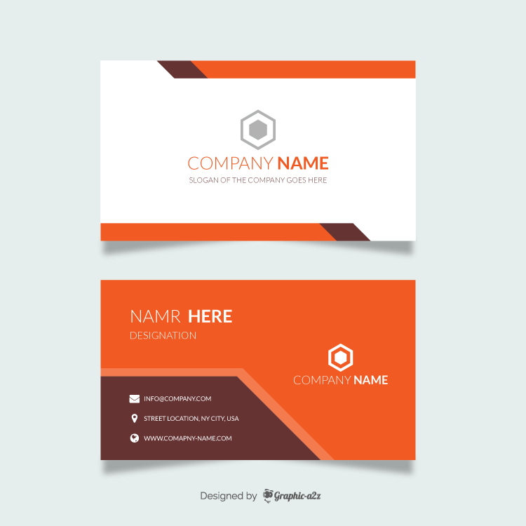 Orange modern business card on Graphica2z
