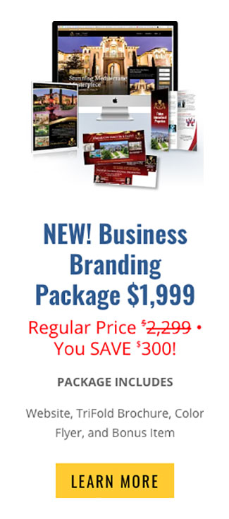 picture of website, flyer, trifold brochure and postcards you get with the business branding special at graphic alchemy