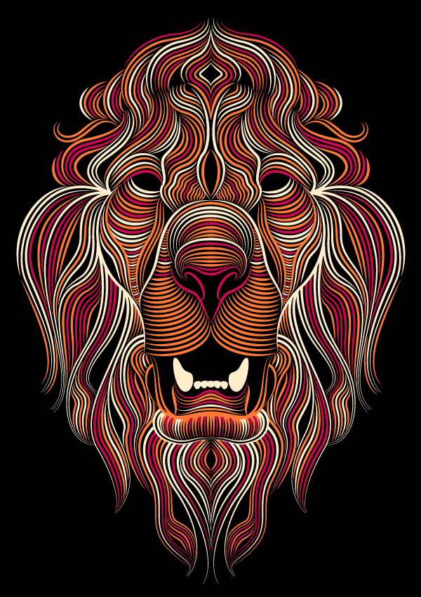 Creative Cloud Illustrator Lion (colored) by Patrick Seymour