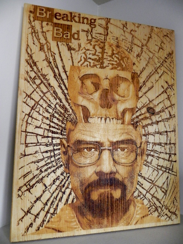 """""""Breaking Bad"""" by Diego Scaglia Rat, laser engraved on pine wood, 11,8"""" x 15,7 """""""