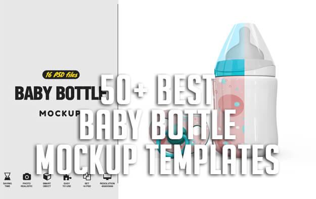 50+ Best Baby Bottle Mockup Templates