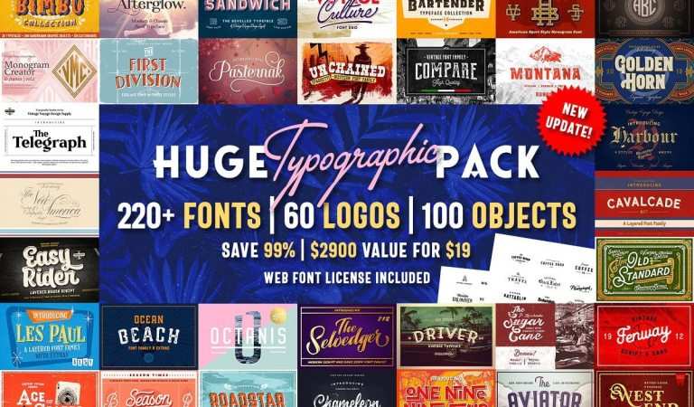 Huge Typographic Pack + 60 Logos 99% Off
