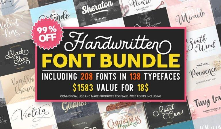 208 Fonts Bundle 99% OFF