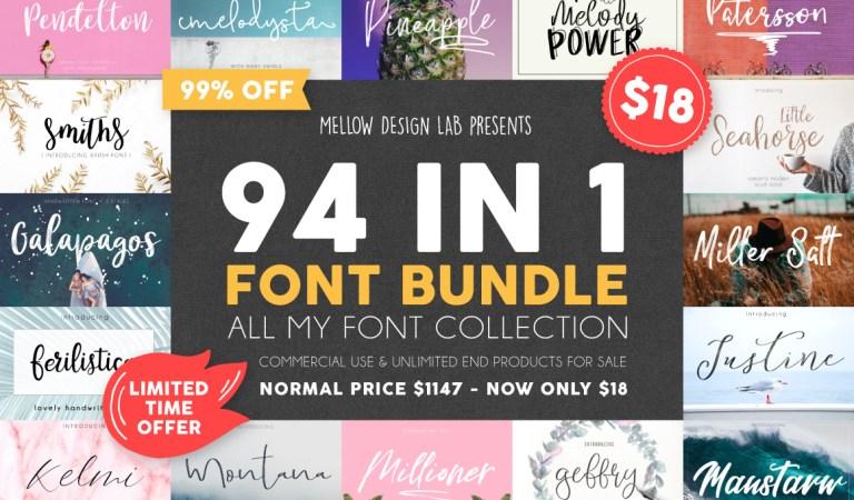 94 IN 1 Font Bundle 99% Off