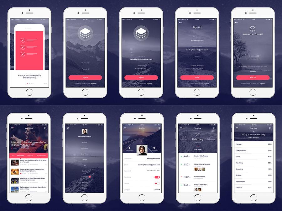 Clean Modern iOS UI Kit - Graphic Ghost