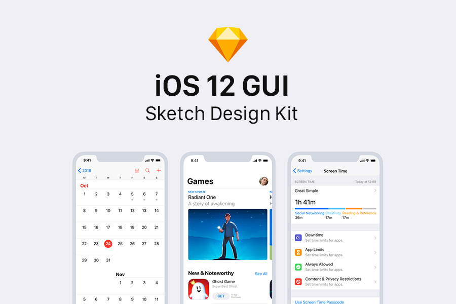 iOS 12 GUI Sketch Design Kit - Graphic Ghost