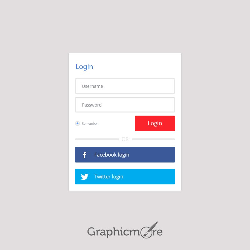Login With Facebook Twitter Free PSD Template Download