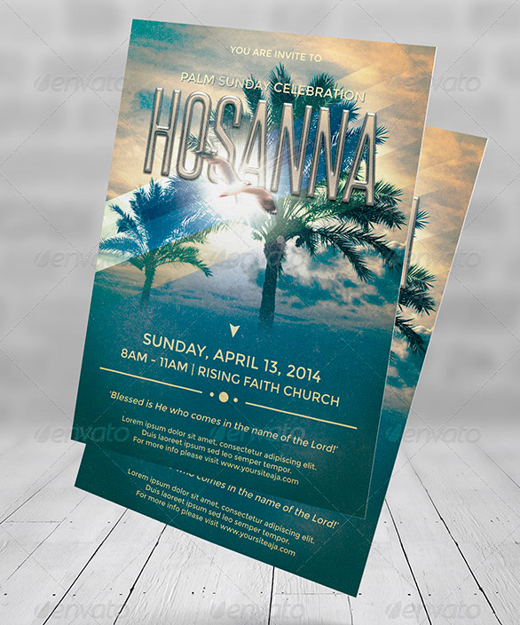 Hosanna Palm Sunday Flyer Poster Template