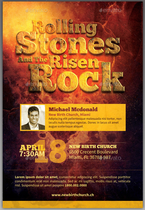 Rolling Stones Risen Rock Church Flyer Template