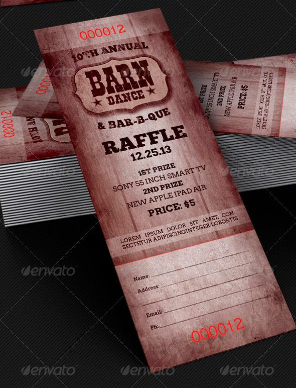 Barn Dance & BBQ Raffle Ticket Template