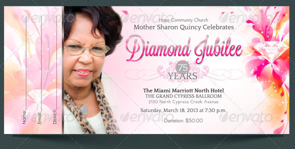 Diamond Jubilee Event Ticket Template