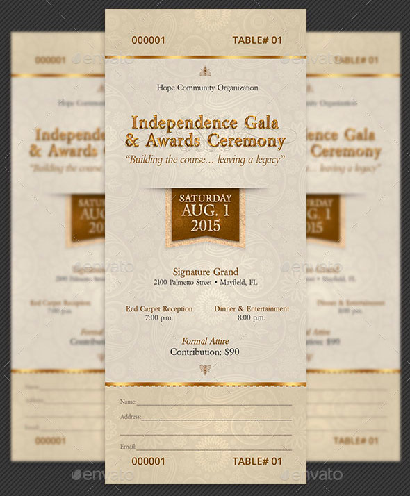 Amazing Ticket Templates For Church And Fundraising Events Gala Template