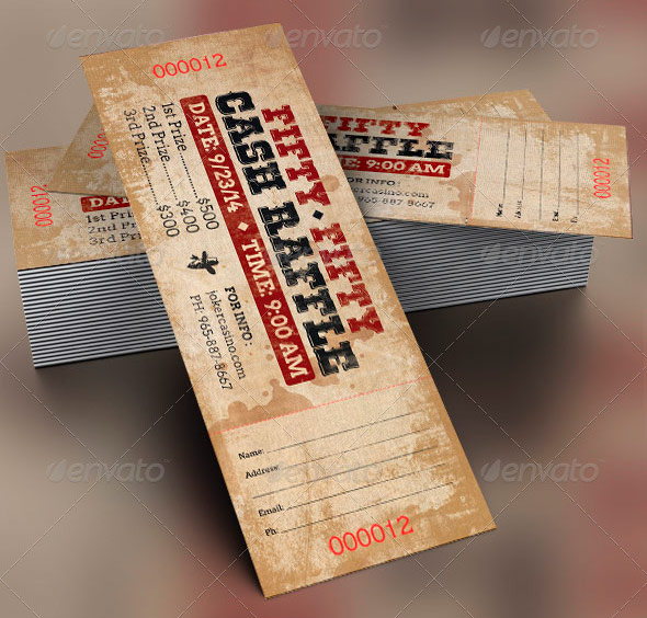 Amazing ticket templates for church and fundraising events for 50 50 raffle tickets template