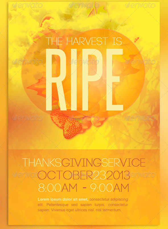 Church Harvest Thanksgiving Service Flyer