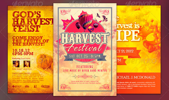 Beautiful Harvest And Thanksgiving Flyer Templates Graphicmule