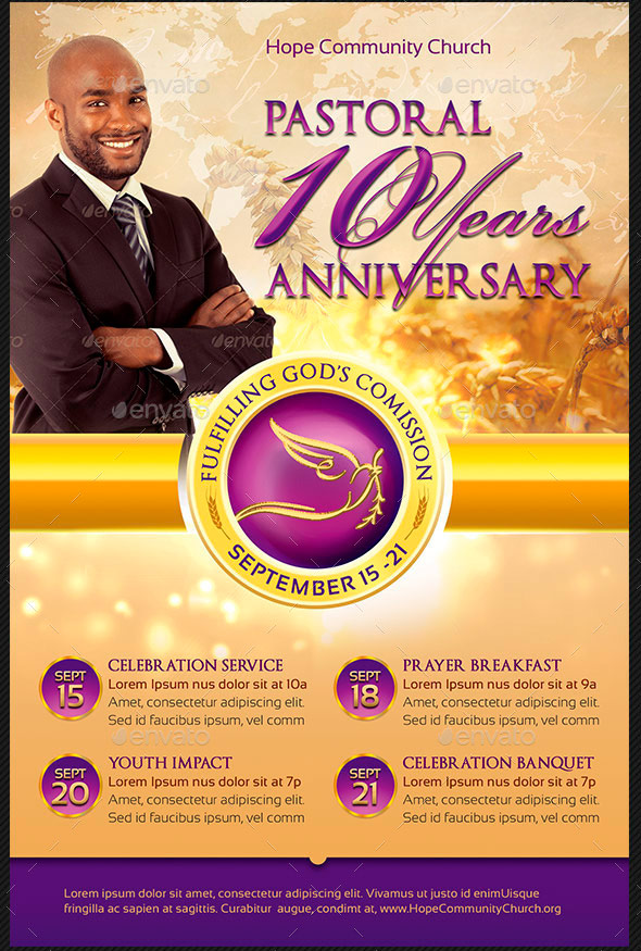 Pastor Appreciation Flyer Templates | Inspiks Market