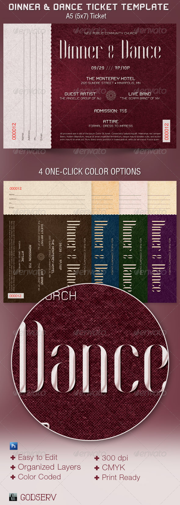 dinner and dance ticket template graphicmule. Black Bedroom Furniture Sets. Home Design Ideas