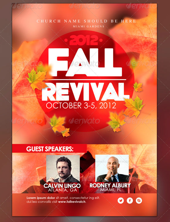 Harvest and thanksgiving flyer templates four c graphic for Free church revival flyer template