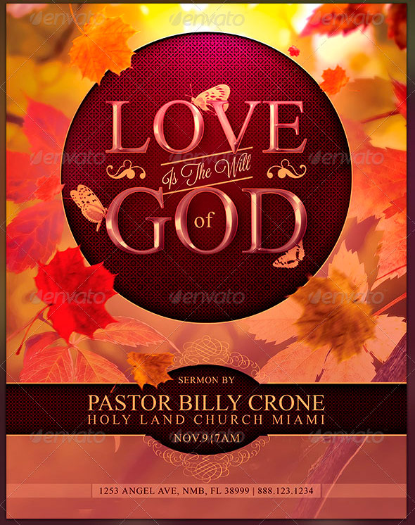 Love is The Will of God: Church Flyer Template
