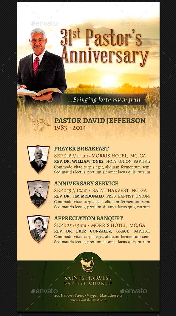 Pastor Anniversary Rack Card Template-Harvest