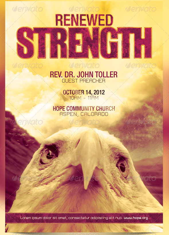 Renewed Strength Church Flyer And CD Template