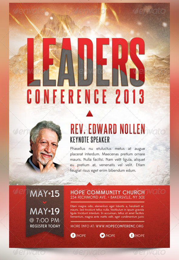 leadership conference church flyer template graphicmule