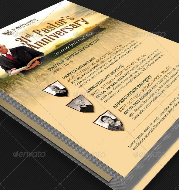 Pastor Anniversary Church Flyer Template: Harvest