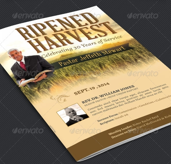 Pastor Anniversary Program Template - Harvest