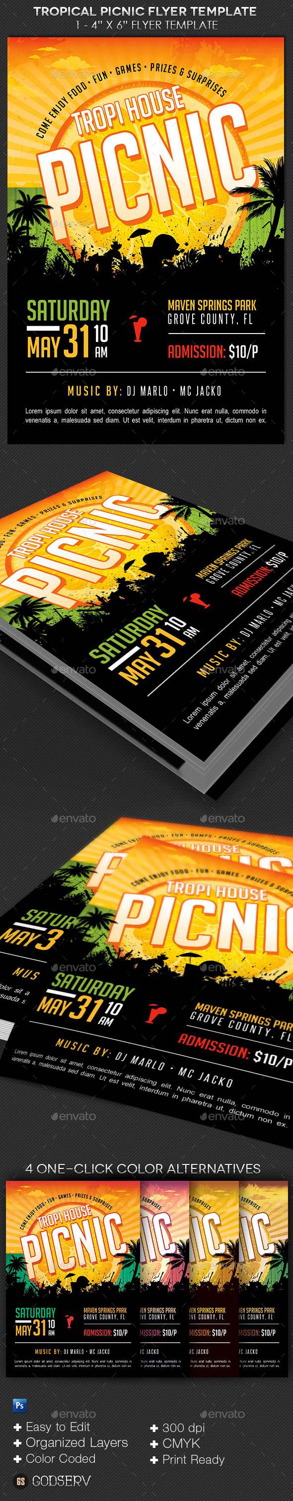 Tropical Picnic Flyer Template Graphicmule