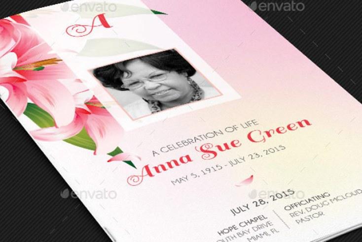 Petals Funeral Program Template