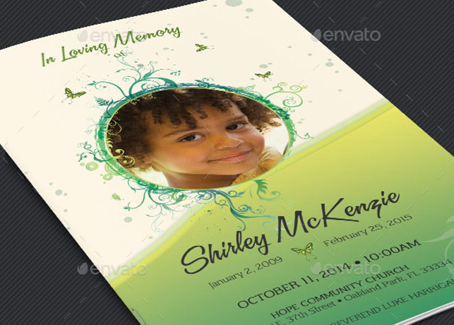 Princess Funeral Program Template