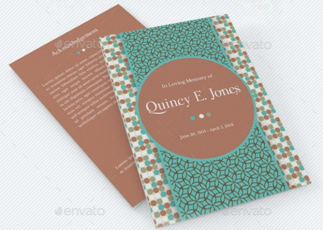 Turquoise A5 Funeral Program Template