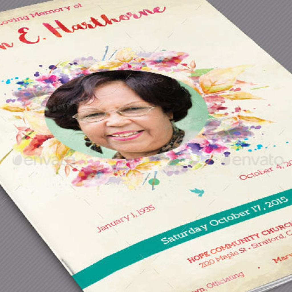 Watercolor Funeral Program Template Set  Funeral Poster Templates