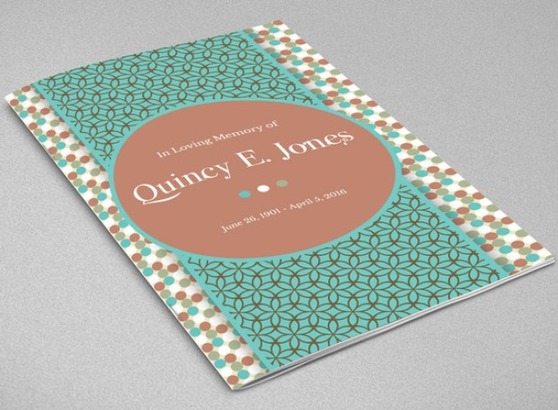 Turquoise Funeral Program Template