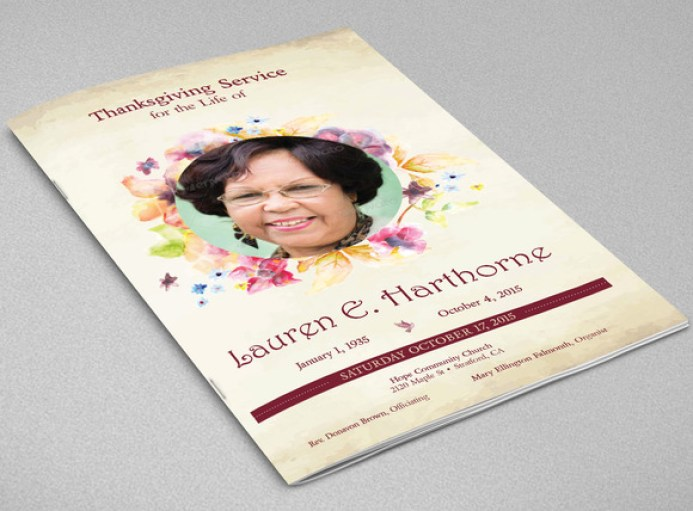 Watercolor Funeral Program Template